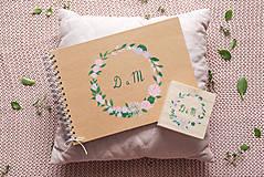 Papiernictvo - Kniha hostí a krabička nature nežné kvety/ súprava - 10972034_