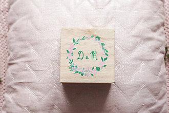 Prstene - Drevená krabička nežné kvety nature - 10972085_