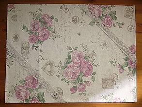 Úžitkový textil - Obrus vintage roses s čipkou - 10972506_