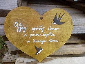 Dekorácie - Srdce veľkè lastovičky - 10971628_