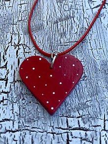Náhrdelníky - bodkované srdiečko-náhrdelník (červené) - 10971092_