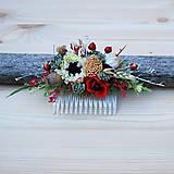 Ozdoby do vlasov - Hrebienok zo sušených kvetov s margarétkou a makovičkou - 10975861_
