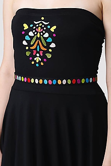Opasky - Opasok čierny vyšívaný farebný - 10975945_