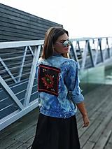 Kabáty - Riflova bunda s folklór motívom na chrbte - 10976688_