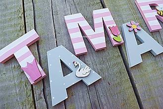 Detské doplnky - 7cm písmenká s dekorom - 10974274_