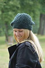 Čiapky - baret zelený - 10973791_