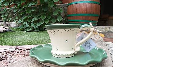 Nádoby - Keramická šálka na čaj,kávu + tanierik na dobroty - 10974501_