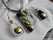 Sady šperkov - Čiernobiele dichroické - 10976412_