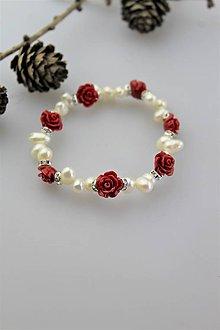Náramky - perly náramok - kvietkový - 10976478_