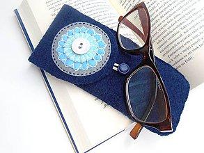 Taštičky - Púzdro na okuliare (tyrkys mandala) - 10975535_