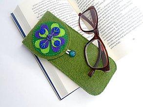 Taštičky - Púzdro na okuliare (pávie pierko) - 10975550_