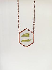 Náhrdelníky - Náhrdelník papraďový (6-uholník) - 10974953_