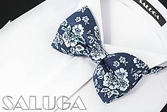 Doplnky - Pánsky kvetinový motýlik - tmavomodrý - modrý - 10975747_