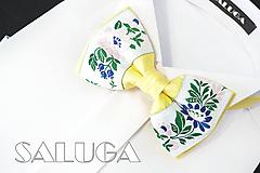Doplnky - Pánsky folklórny motýlik - žltý - ľudový - 10975775_