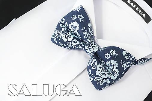 Pánsky kvetinový motýlik - tmavomodrý - modrý