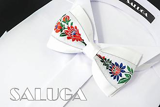 Doplnky - Pánsky folklórny motýlik - biely - ľudový - 10975725_