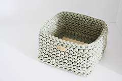 Košíky - Pletený košík štvorcový - šalviový - 10974904_