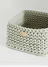 Košíky - Pletený košík štvorcový - šalviový - 10974906_