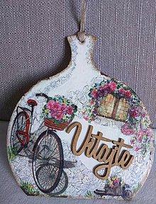Dekorácie - Dekoračný lopárik - Bicykel s košíkom plným ruží - 10975728_