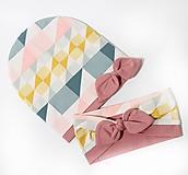 Detské čiapky - Dvojvrstvová čiapka a čelenka - 10975350_