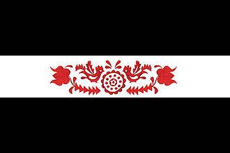 Opasky - Folk opasok z regiónu Záhorie 2- Jablonica (Biely obojstranný široký 5,5 cm Vzor 2) - 10976983_