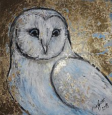 Obrazy - zlatá sova - 10974466_