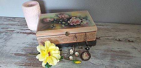 Krabičky - Šperkovnica s ružou - 10976452_
