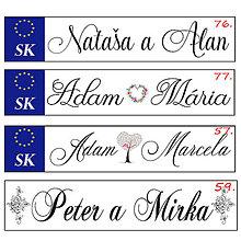 Tabuľky - Svadobná špz-plastová tabuľka - možnosť zmeny fontu, textu, bez SK znaku - 10977044_