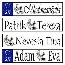 Tabuľky - Svadobná špz-plastová tabuľka - možnosť zmeny fontu, textu, bez SK znaku - 10977069_