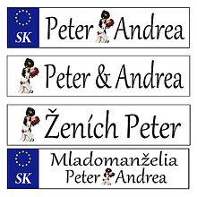 Tabuľky - Svadobná špz-plastová tabuľka - možnosť zmeny fontu, textu, bez SK znaku - 10977090_