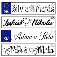 Tabuľky - Svadobná špz-plastová tabuľka - možnosť zmeny fontu, textu, bez SK znaku - 10977151_