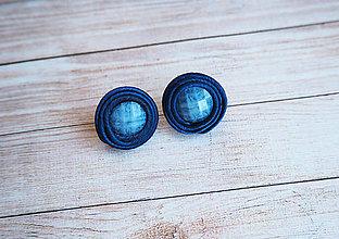 Náušnice - Šujtášové náušnice Modré Tajomstvo - 10976293_