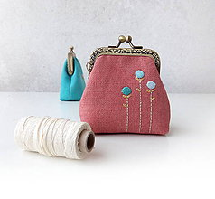 Peňaženky - Peňaženka Farebné kvietky (Ružová) - 10975470_