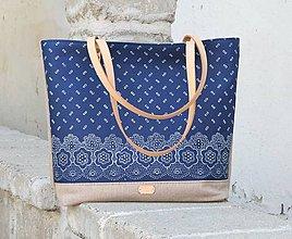 Veľké tašky - taška Agáta modrotlačová hnedá 1 - 10975542_