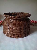 Košíky - Košík - hnedá séria s drevenými rúčkami - 10974445_