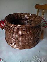 Košíky - Košík - hnedá séria s drevenými rúčkami - 10974446_