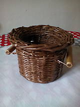 Košíky - Košík - hnedá séria s drevenými rúčkami - 10974455_