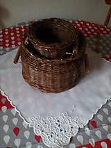 Košíky - Košík - hnedá séria s drevenými rúčkami - 10974456_