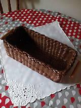 Košíky - Košík - hnedá séria s drevenými rúčkami - 10974462_
