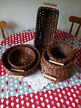 Košíky - Košík - hnedá séria s drevenými rúčkami - 10974516_
