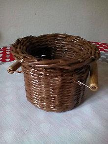 Košíky - Košík - hnedá séria s drevenými rúčkami - 10974454_