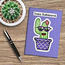 Papiernictvo - Zápisník kaktus  (modrý) - 10974020_