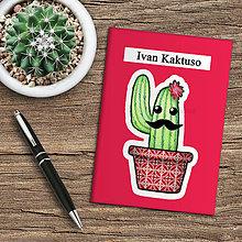 Papiernictvo - Zápisník kaktus  (karmínový) - 10974031_