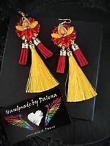 Náušnice - Ohnivé flamenco strapcové náušnice - 10977171_