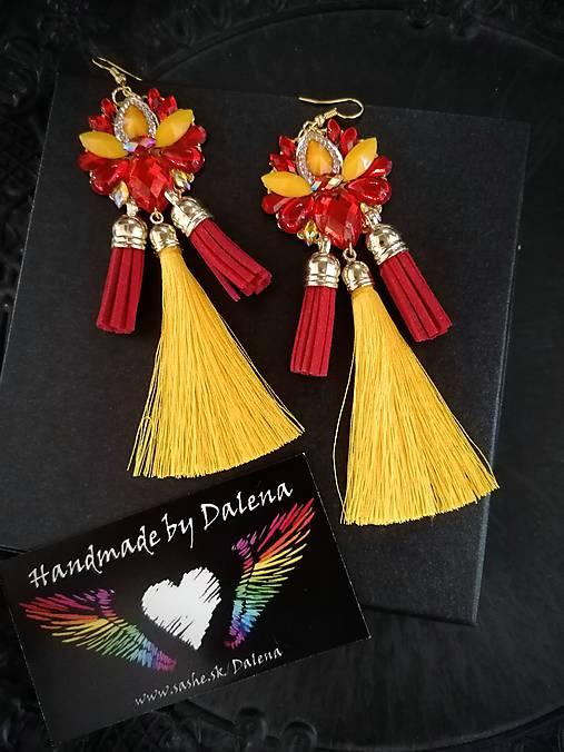 Ohnivé flamenco strapcové náušnice