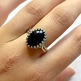 Prstene - Black Agate Ring Silver Ag925 / Strieborný prsteň s čiernym achátom - 10978533_