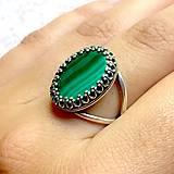 Prstene - Malachite Silver Ag925 Ring / Strieborný prsteň s pravým malachitom - 10978680_