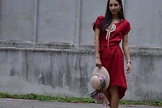 Šaty - LIWIA - originálne  šaty farby vína s ručnou výšivkou. - 10978773_