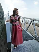 Šaty - Ružové šaty s krajkovym topom - 10977261_