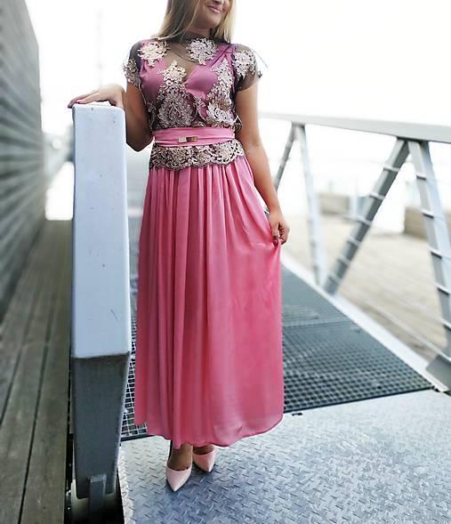 Ružové šaty s krajkovym topom